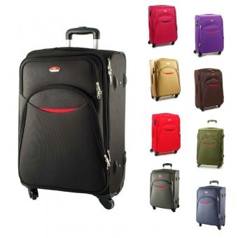 013 Duże walizki materiałowe na czterech obrotowych kółkach