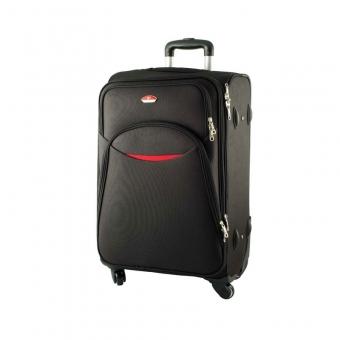013 Duża walizka materiałowa na czterech obrotowych kółkach czarna