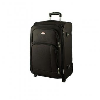 91074 Duża walizka podróżna na kółkach materiałowa czarna