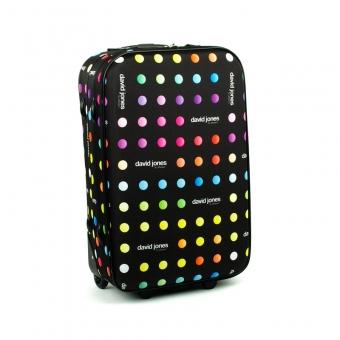 1008 David Jones Średnia walizka podróżna lekka w kropki