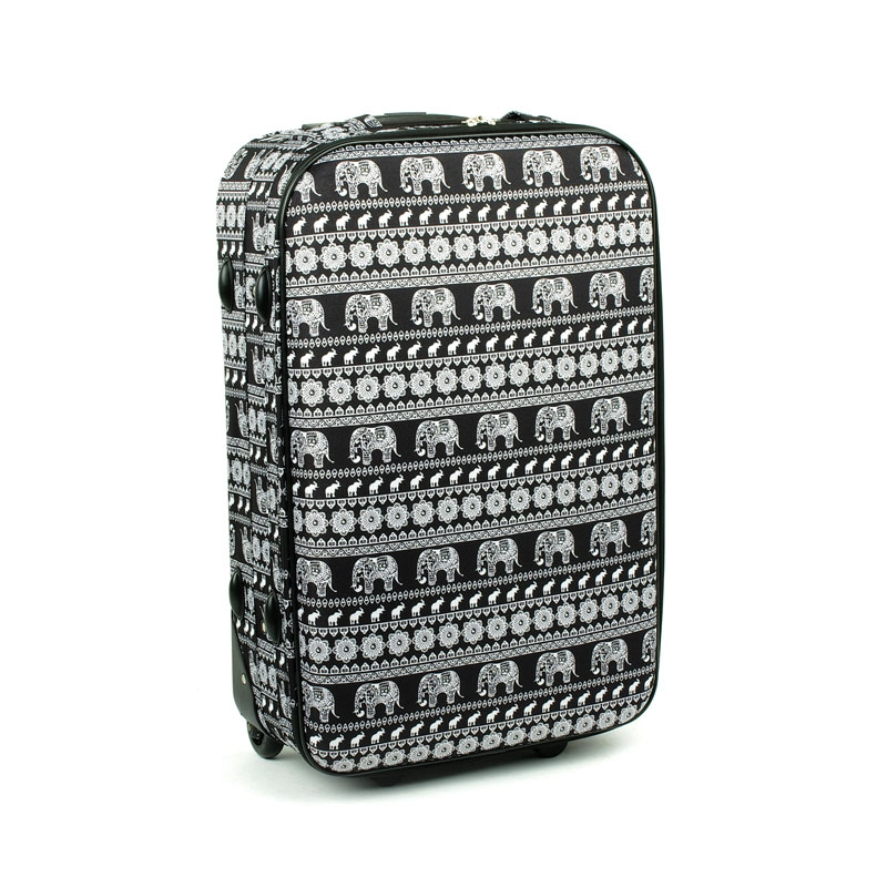 1004 Duża walizka podróżna lekka David Jones z motywem słonie