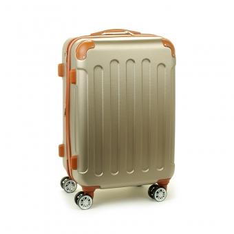 88603 Duża walizka podróżna na kółkach ABS - Madisson beżowa złota
