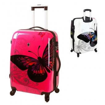 Duże walizki podróżne na kółkach z poliwęglanu motyle Madisson 16820A