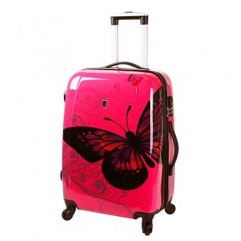 Średnia walizka podróżna na kółkach poliwęglan motyle Madisson 16820A różowa z motylem