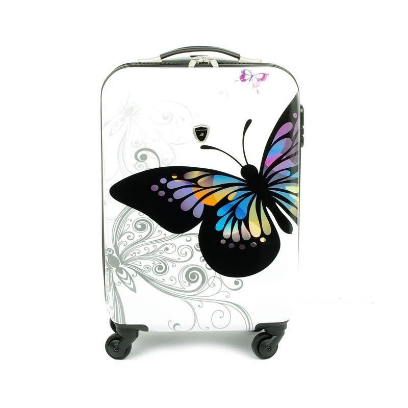 Mała walizka podróżna na kółkach dla dzieci motyle Madisson 16820A biała