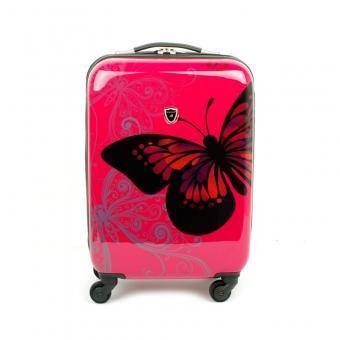 Mała walizka podróżna na kółkach dla dzieci motyle Madisson 16820A różowa