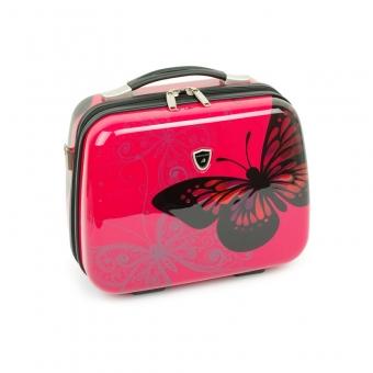 Kuferek na kosmetyki, kosmetyczka podróżna z motylem - Madisson 16820V różowy