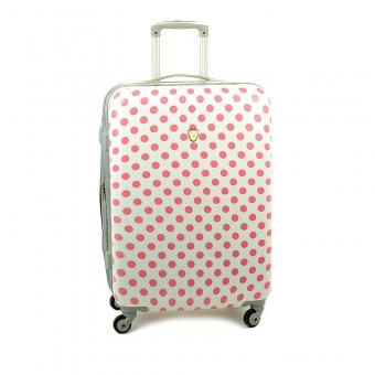 Duża kolorowa walizka podróżna na kółkach w kropki - Madisson 16820 biała