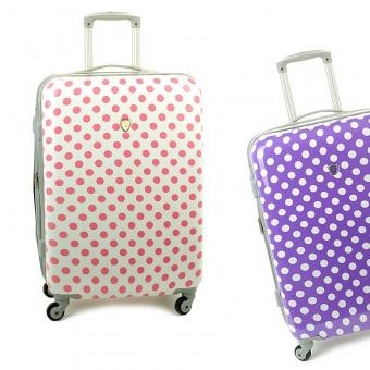 Średnia kolorowa walizka podróżna na kółkach w kropki - Madisson 16820