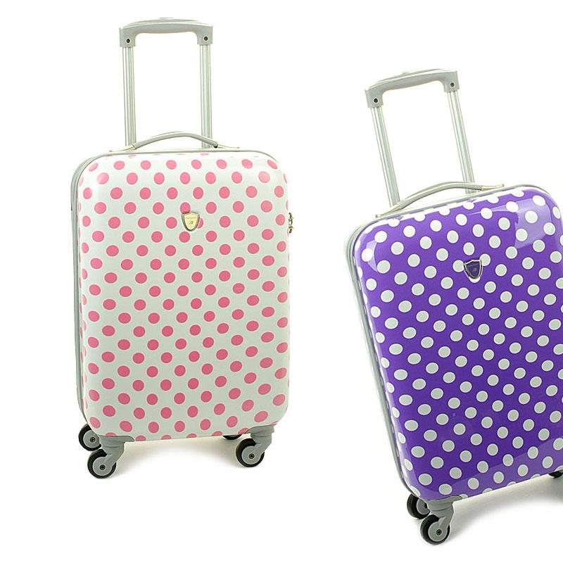 Mała kolorowa walizka kabinowa na kółkach w kropki - Madisson 16820