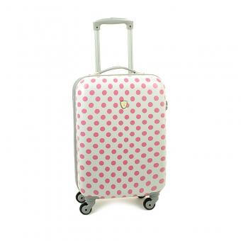 Mała kolorowa walizka kabinowa na kółkach w kropki - Madisson 16820 biała