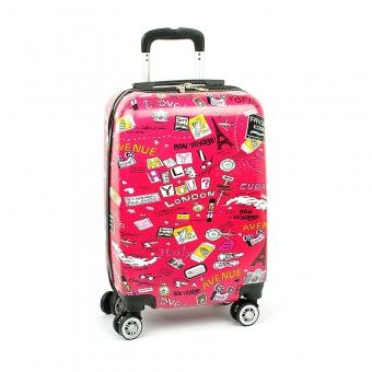 Mała kolorowa walizka na 4 kółkach dla dzieci młodzieżowa 86820G różowa