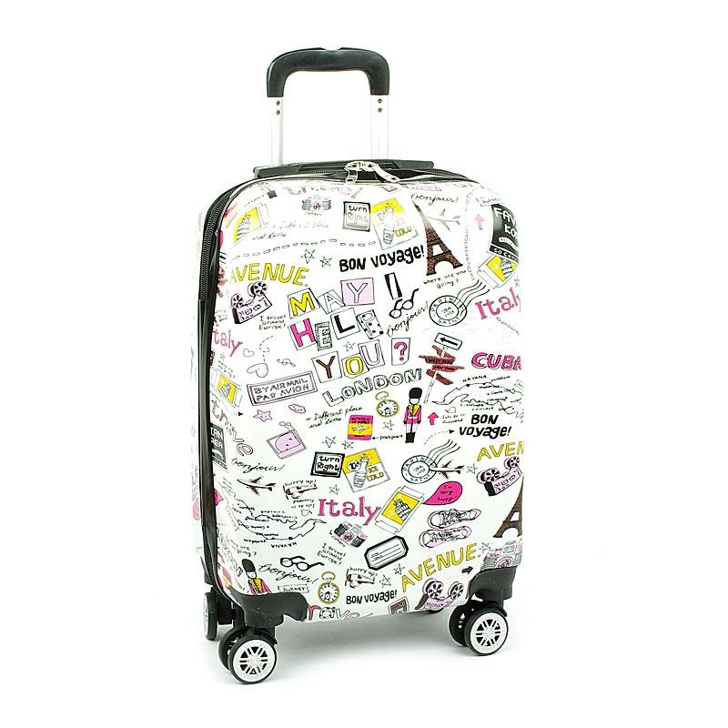 Mała kolorowa walizka na 4 kółkach dla dzieci młodzieżowa 86820G biała