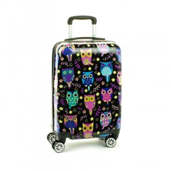 Mała kolorowa walizka na 4 kółkach dla dzieci młodzieżowa 86820N czarna sowy