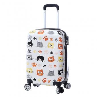 Mała kolorowa walizka na 4 kółkach dla dzieci młodzieżowa koty 86820M biała