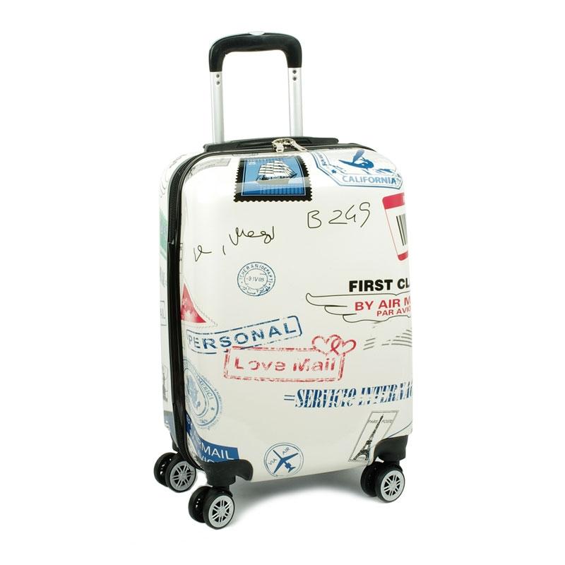 Mała kolorowa walizka na 4 kółkach dla dzieci młodzieżowa 86820E biała znaczki pocztowe