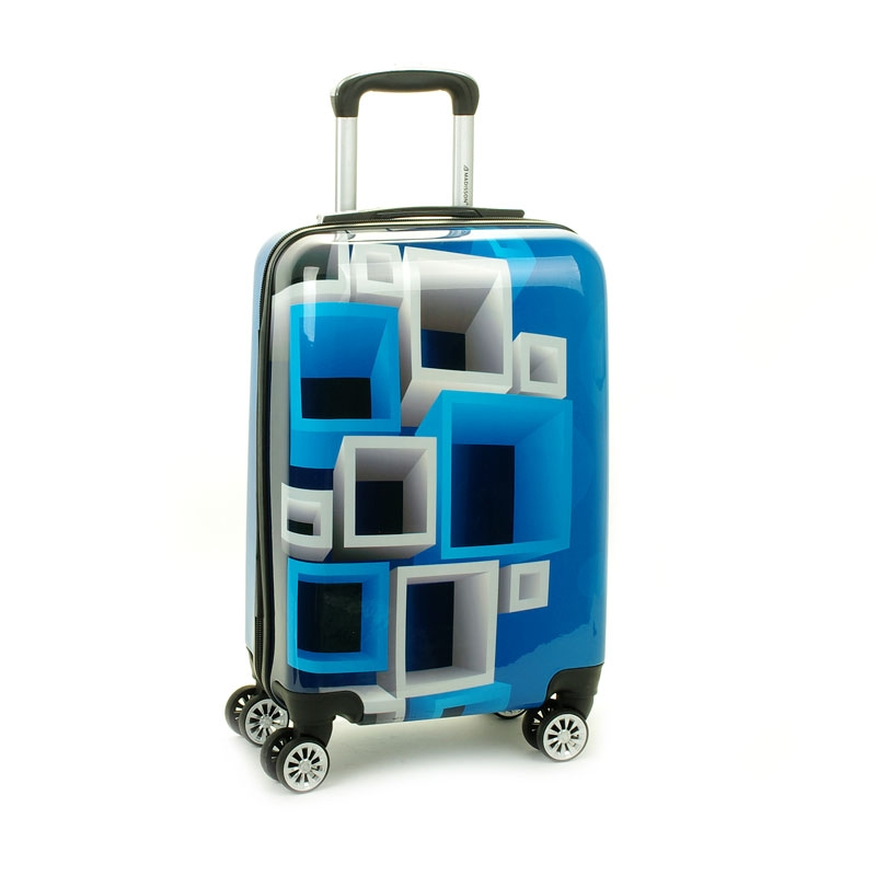 Mała kolorowa walizka na 4 kółkach dla dzieci młodzieżowa 96820A niebieska