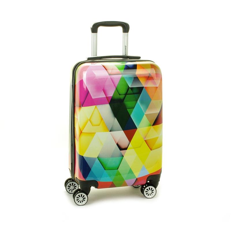 Mała kolorowa walizka na 4 kółkach dla dzieci młodzieżowa 96820Q kolorowa