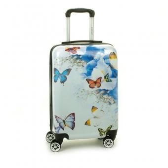 Mała kolorowa walizka na 4 kółkach dla dzieci młodzieżowa 96820R motyle