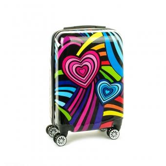 Mała kolorowa walizka na 4 kółkach dla dzieci młodzieżowa 96820S serca