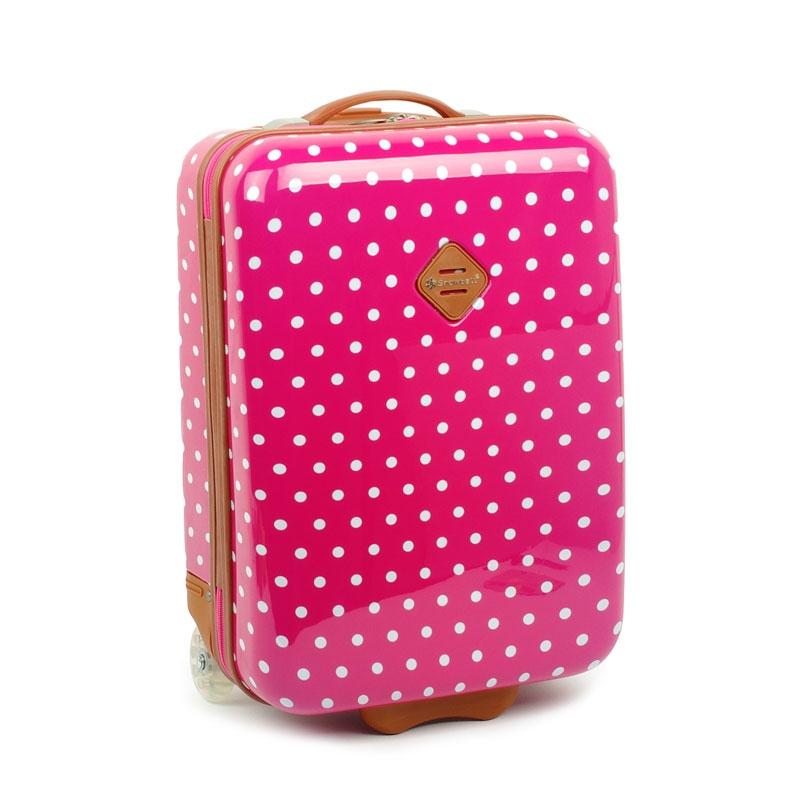 65118 Mała walizka na kółkach dziecięca w kropki - Snowball różowa