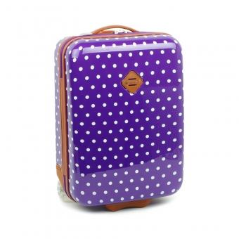 65118 Mała walizka na kółkach dziecięca w kropki - Snowball fioletowa