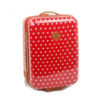 65118 Mała walizka na kółkach dziecięca w kropki - Snowball czerwona