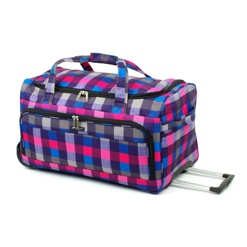 824/65 Duża torba podróżna na kółkach miękka w kratę - Airtex