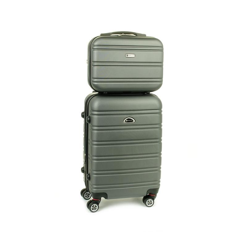 531/2 Zestaw mała walizka plus kosmetyczka podróżna - Airtex stalowy szary