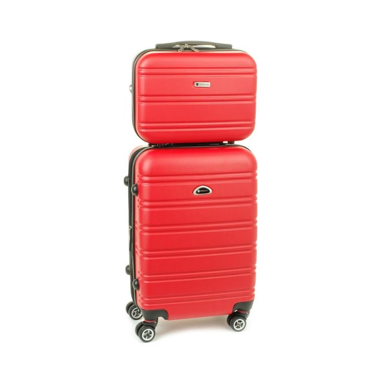 531/2 Zestaw mała walizka plus kosmetyczka podróżna - Airtex czerwony