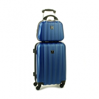 80002 Zestaw mała walizka plus kosmetyczka podróżna - Madisson granatowy
