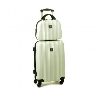 80002 Zestaw mała walizka plus kosmetyczka podróżna - Madisson kremowy