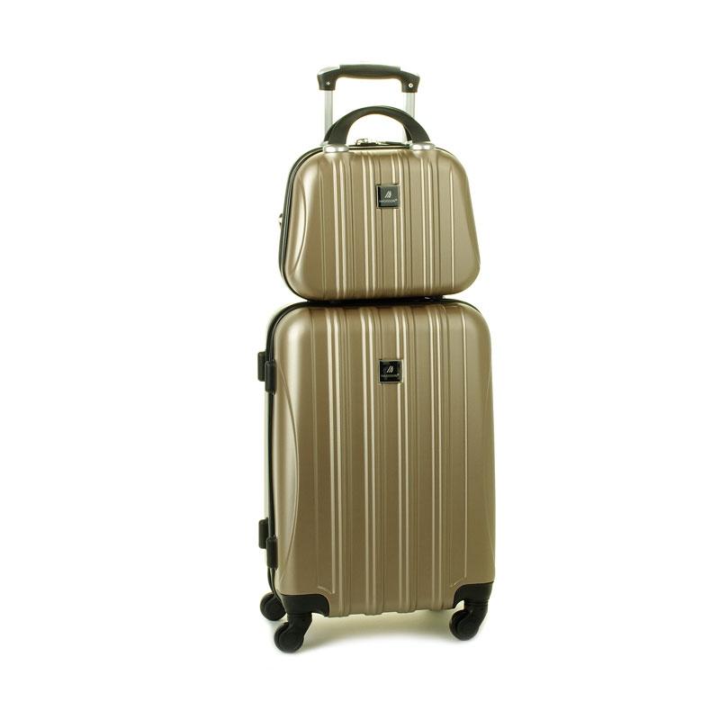 80002 Zestaw mała walizka plus kosmetyczka podróżna - Madisson beżowy złoty
