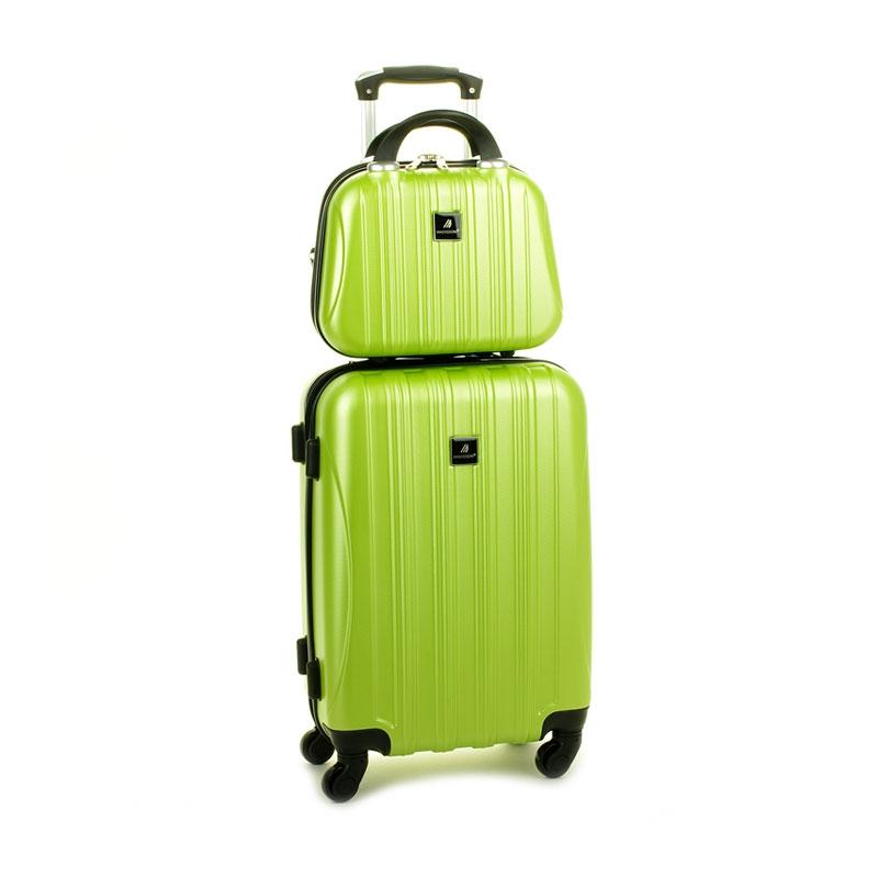 80002 Zestaw mała walizka plus kosmetyczka podróżna - Madisson zielony limonkowy