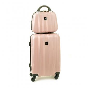 80002 Zestaw mała walizka plus kosmetyczka podróżna - Madisson jasny różowy pudrowy