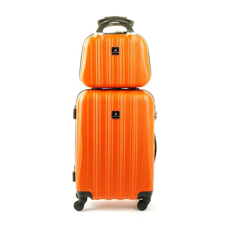 80002 Zestaw mała walizka plus kosmetyczka podróżna - Madisson pomarańczowy