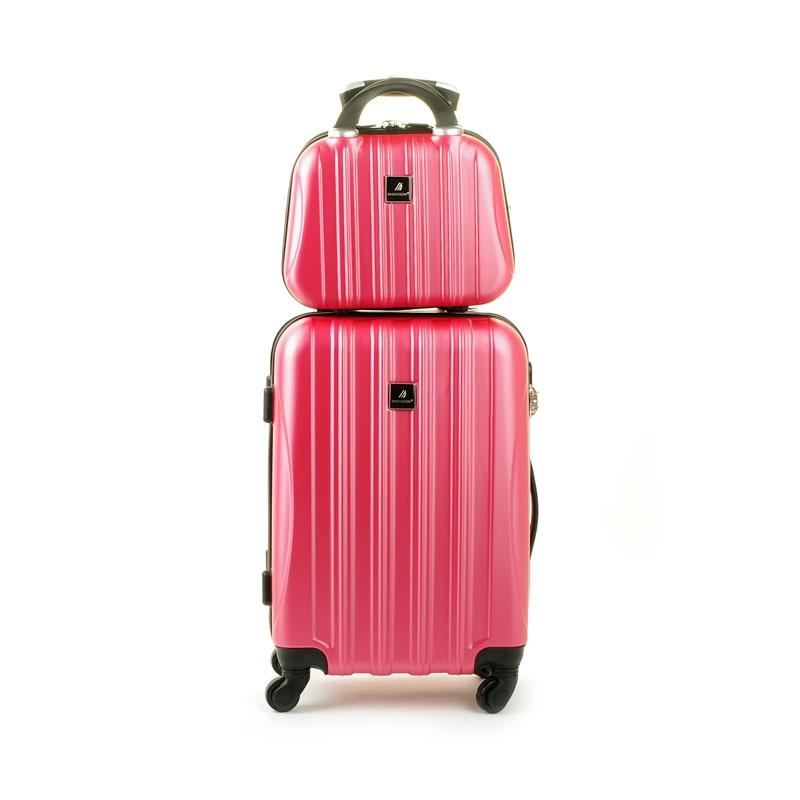80002 Zestaw mała walizka plus kosmetyczka podróżna - Madisson różowy