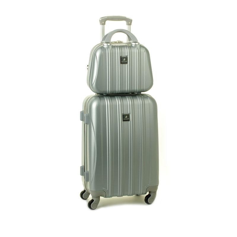 80002 Zestaw mała walizka plus kosmetyczka podróżna - Madisson srebrny