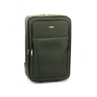 515 Duża materiałowa walizka podróżna na kółkach, tania - Worldline szara
