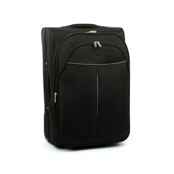 2897 Duża walizka podróżna materiałowa na dwóch kółkach - Airtex czarna