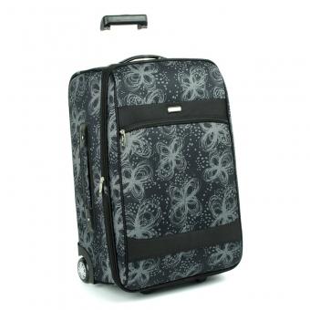 2431 Średnia walizka podróżna na kółkach z wzorem - Airtex czarna