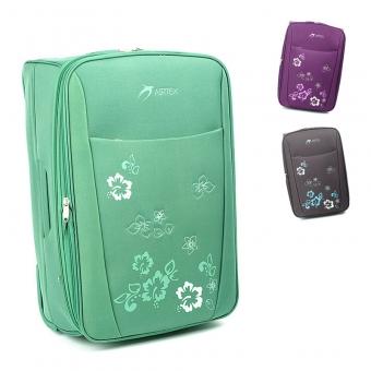 Duża lekka walizka podróżna na kółkach w kwiaty - Airtex 9154