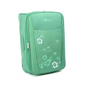Duża lekka walizka podróżna na kółkach w kwiaty - Airtex 9154 zielona