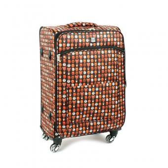 Duża kolorowa walizka materiałowa dla dzieci, młodzieżowa Airtex 6325 czarna kolorowa