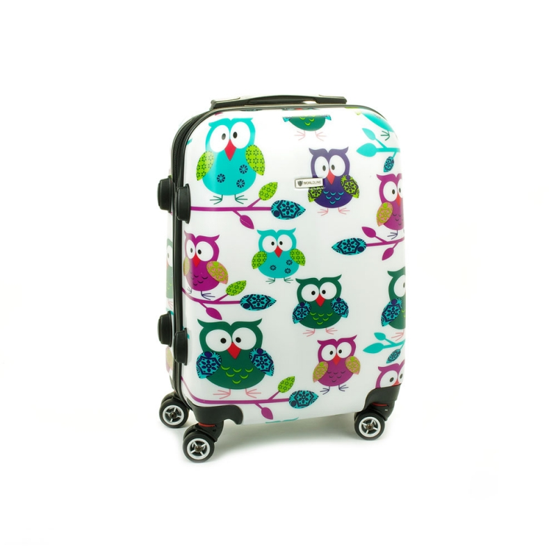 Mała kolorowa walizka na 4 kółkach dla dzieci sowy Airtex 808