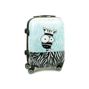 Mała kolorowa walizka na 4 kółkach dla dzieci zebra Airtex 808