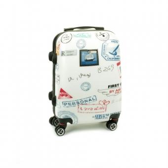 Mała kolorowa walizka na 4 kółkach dla dzieci znaczki Airtex 809