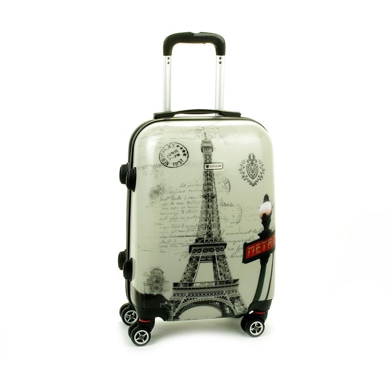 809 Mała walizka na kółkach z nadrukiem tower twarda ABS+PC - Airtex