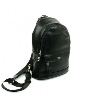 696602 Damski plecaczek na jedno ramię skórzany - David Jones czarny