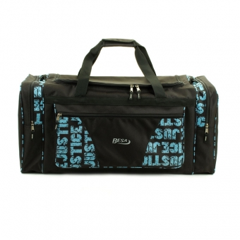 215 Mała torba podróżna podręczna materiałowa z nadrukiem - Besa niebieska